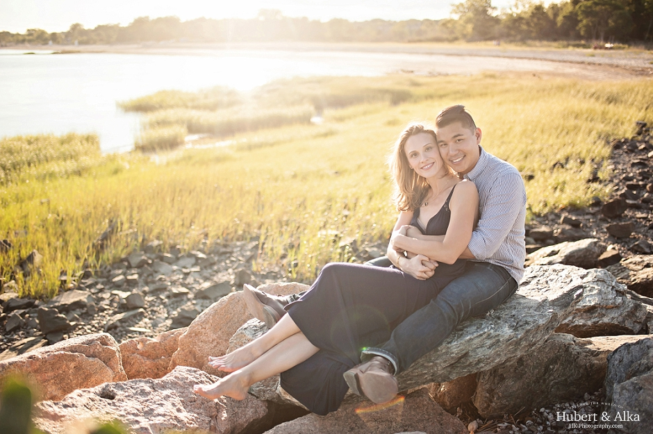 Silver Sands Summer Fashion Inspired Engagement Shoot with a Best Wedding Photographer in CT