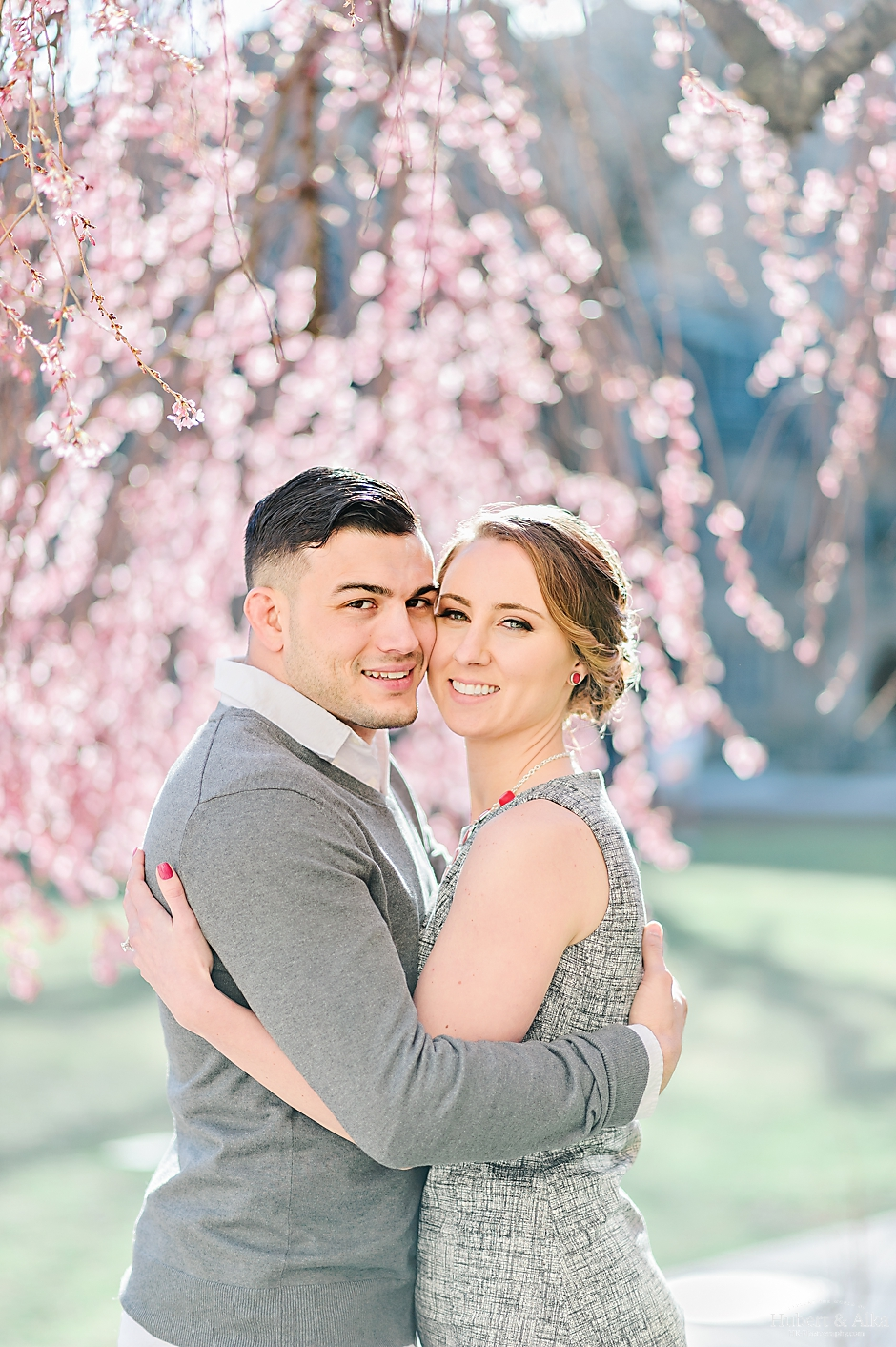 new haven cherry blossom spring engagement